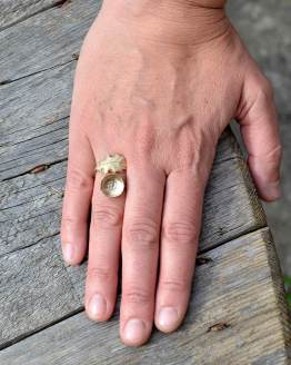 Oak Leaf & Acorn Ring Hand