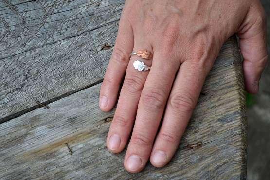 Copper & silver oak leaf wrap ring hand