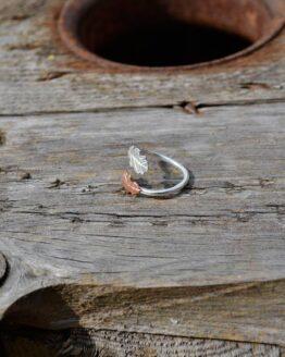 Copper & silver oak leaf wrap ring side