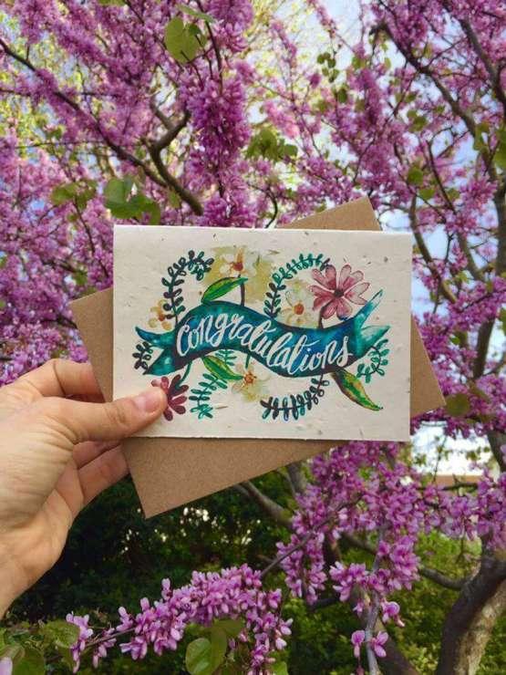 congratulations card on lilacs