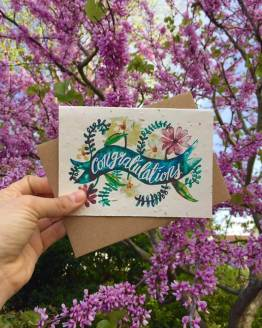 congratulations card on lilacs