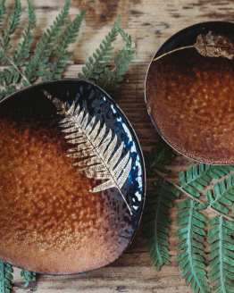 fern copper jewellery dishes