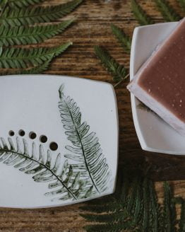 new large fern soap dish styled