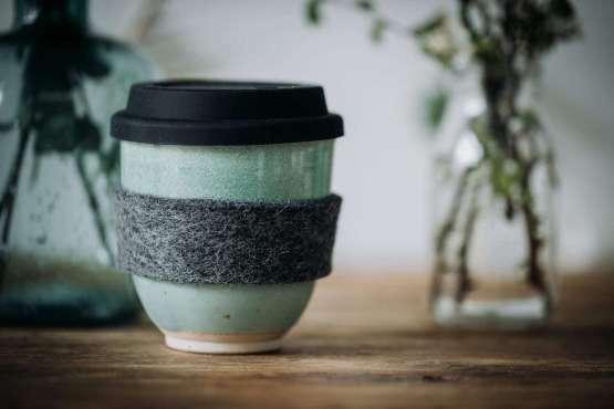 light green travel coffee cup