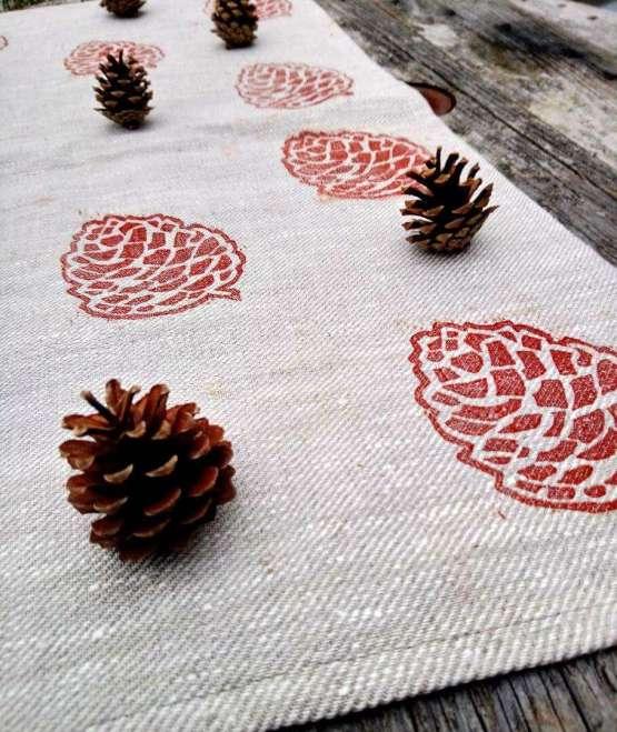 pinecone tea towel open styled shot