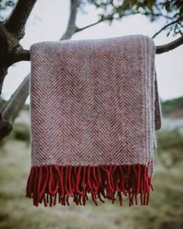 red silver wool blanket