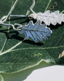 silver oak leaf drop earrings