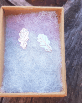 silver leaf stud earrings in gift box