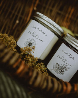 solstice candles duo basket close up
