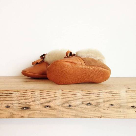 Rose Choules Tan leather baby moccasins sole