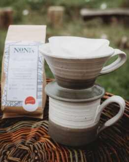 stoneware coffee making set