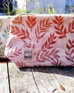 Linen leafprint makeup bag