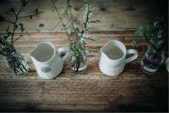 Wendy Calder white green jugs from top