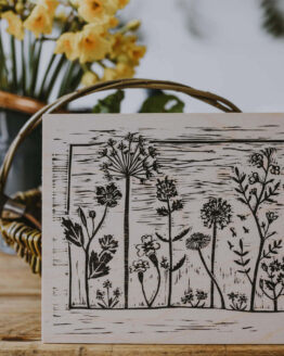 wooden wildflower meadow print
