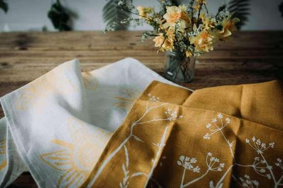 yellow tea towels