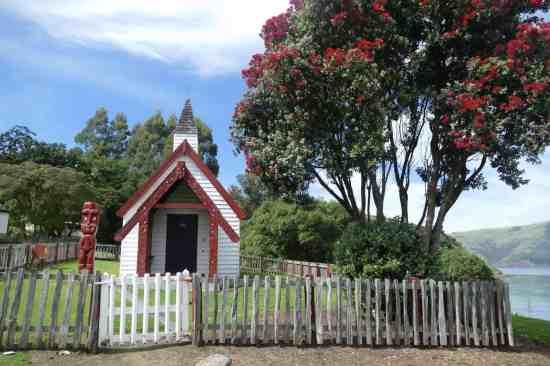 Onuku Marae Church and Pohutakawa Tree