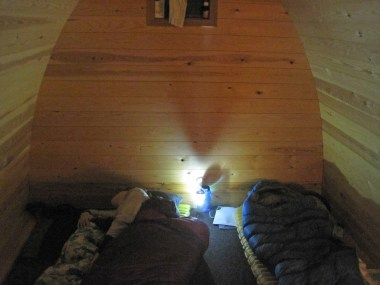 Inside the camping pod.