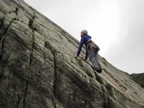 Me climbing Little Tryfan Arete on Tryfan Bach.