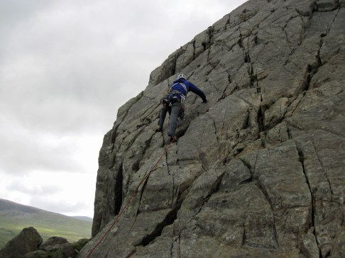 Me climbing Crack 1 on Tryfan Bach.
