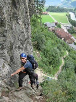 Ben on the first section of the Klettersteig Huterlaner.