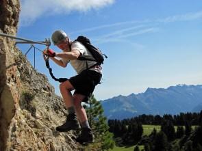 John traversing on the Klettersteig Knorren.