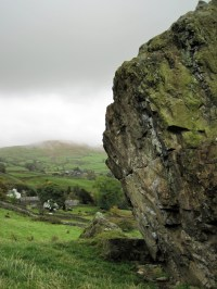 Badger Rock and the village of Kentmere.