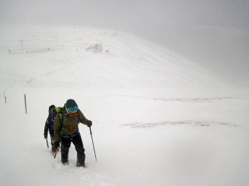 Bill the instructor walking across Coire na Ciste.
