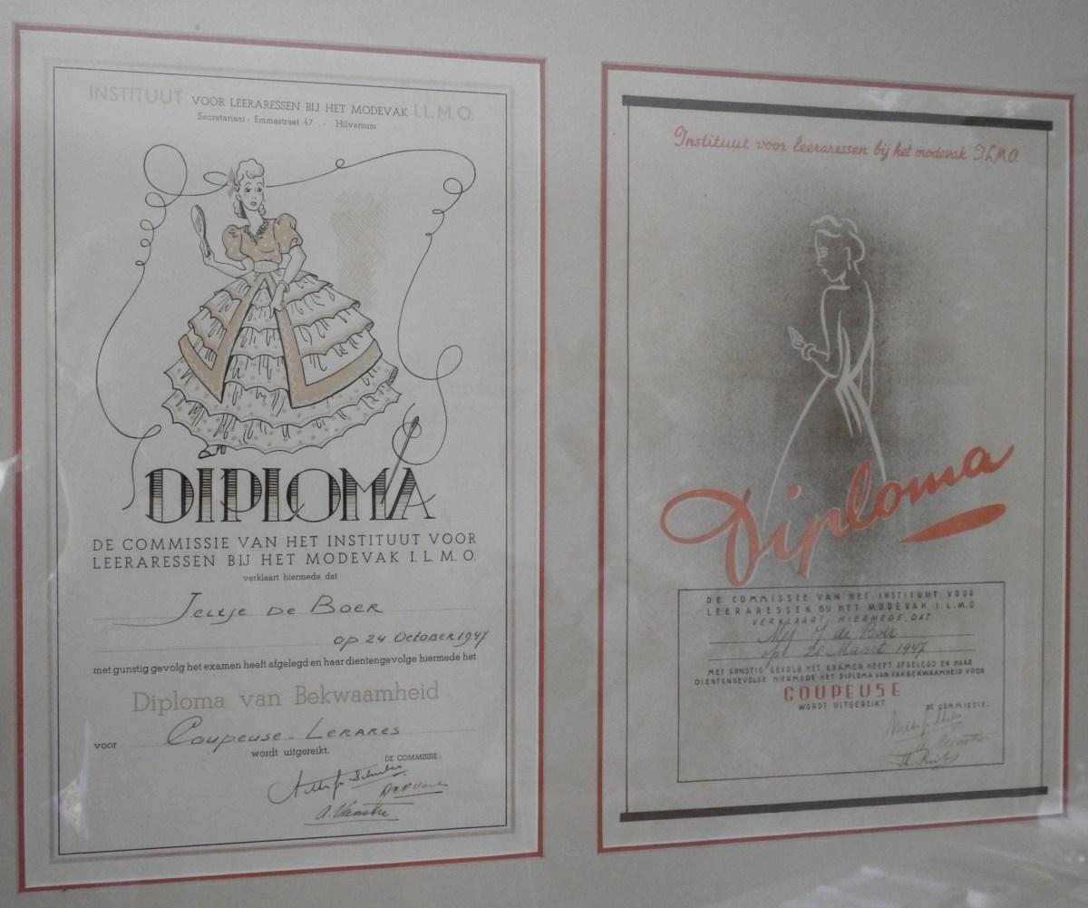 Jeltje's diplomas