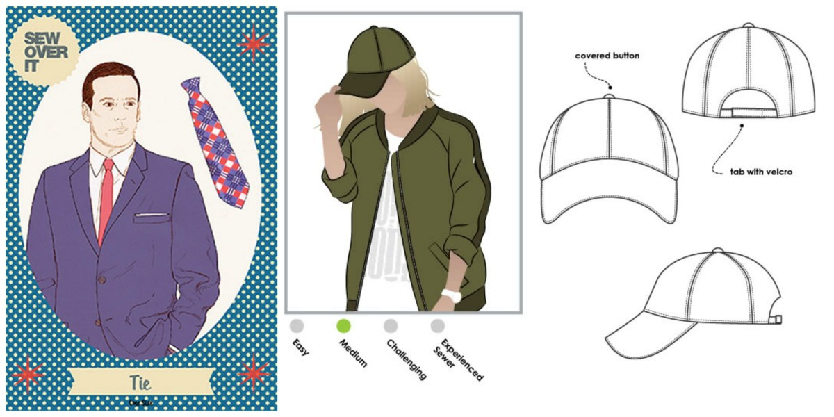 Picture collage of a tie and a baseball cap pattern as mentioned in the main text