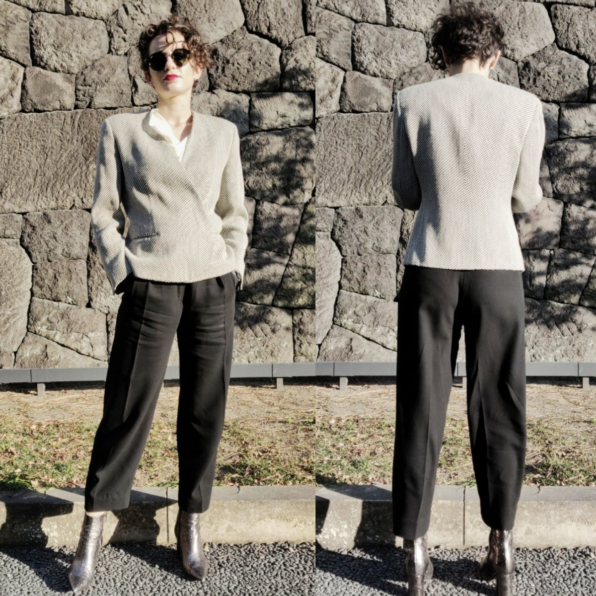 Front and back views of Emilia wearing the same trousers and boots, but with a grey blazer with dramatic shoulders