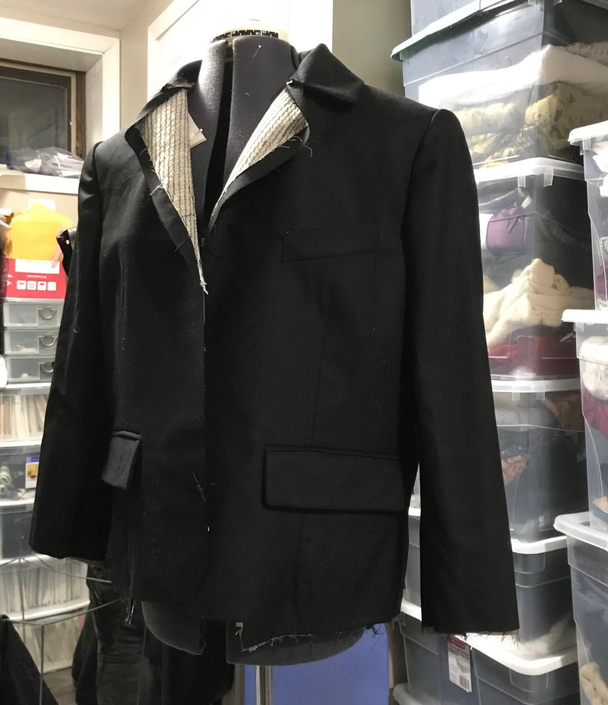 A progress shot of the unfinished jacket on a dressform