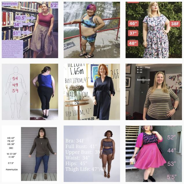 SewMySize collage, showing sewists' Instagram photos with their measurements written on each image