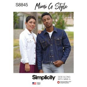 The cover image of Simplicity S8845, showing a black woman (Mimi G) in a white denim jacket and a black man (Norris Danta Ford) in a dark indigo denim jacket.