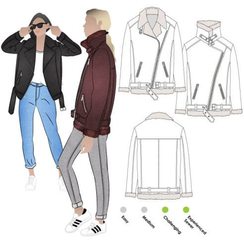 Illustration of an oversized aviator jacket with angled zip front, angles zip hip pockets, high sheepskin collar with buckle, and buckled narrow belt.