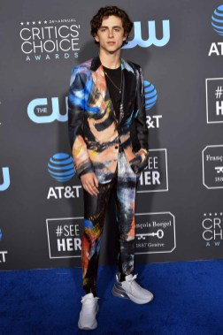 Timothee Chalamet, a young white man wears a suit with dramatic brushstrokes of blue, peach, gray, and red against a black field.