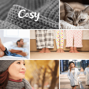 Collage of pictures representing the word cosy
