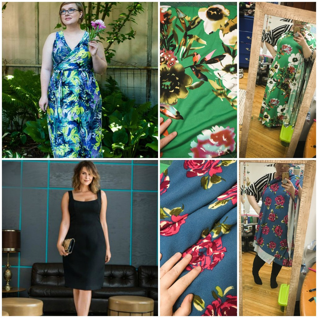 Collage of Gillian's sewing options: a sleeveless version of the Cashmerette Appleton, with green floral fabric, or a Burda sheath dress, matched with blue floral fabric