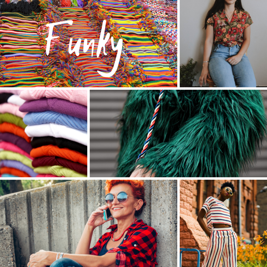 Collage of pictures representing the word funky