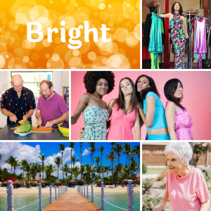 Collage of pictures representing the word bright