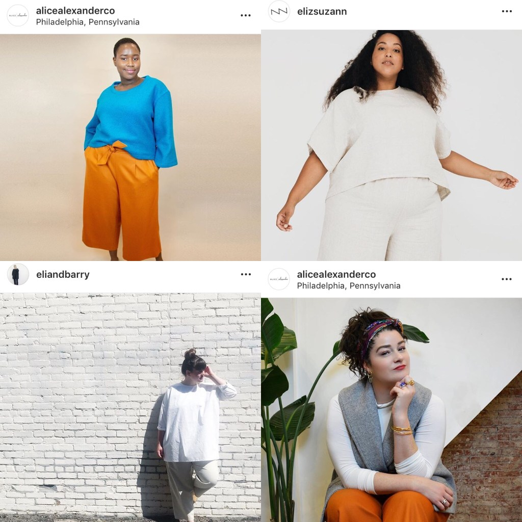 Collage of images of plus-size indie RTW: a bright blue top with bright yellow-orange wide-leg cropped trousers; an all-white top and trousers; a grey vest worn over a long-sleeved white tee and orange trousers; and a white tunic top over light trousers.