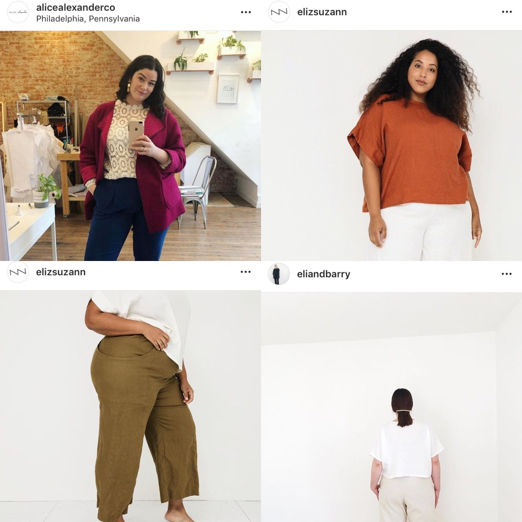 Collage of images of plus size indie RTW: A fuchsia blazer, a burnt-orange top, a white top, and khaki ankle trousers.