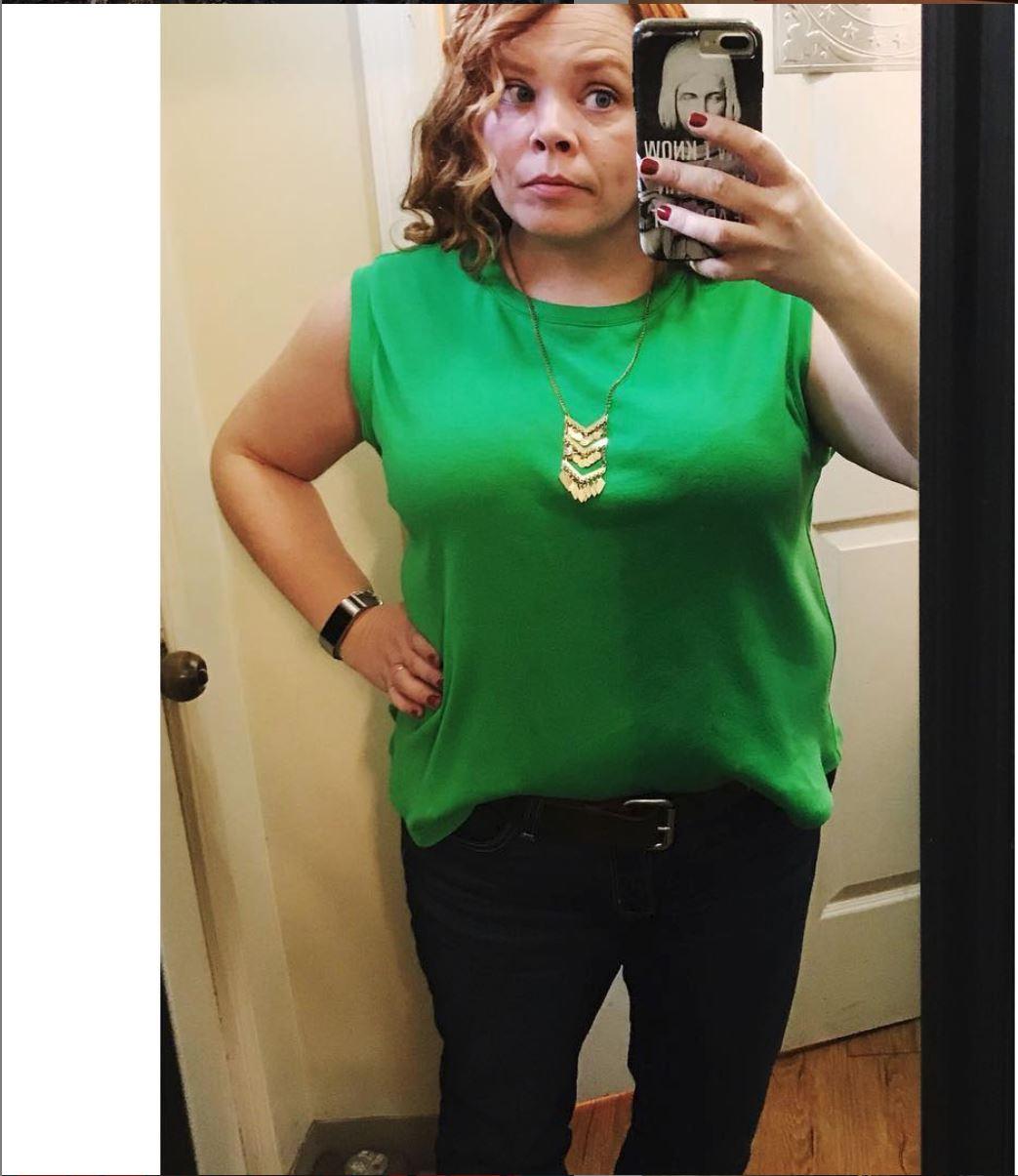 Green t-shirt selfie