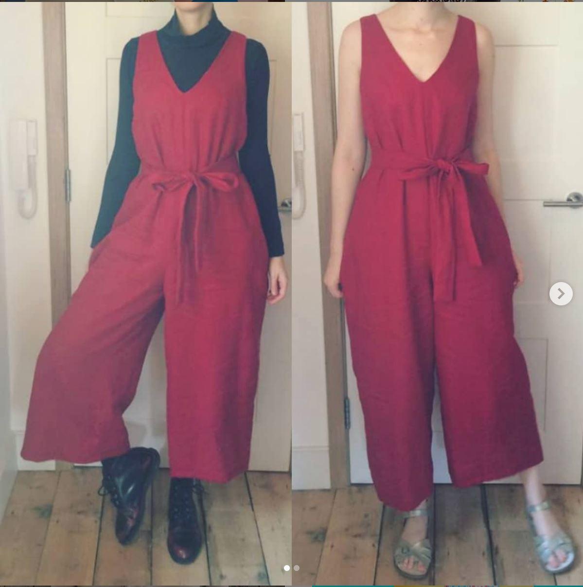 Red culotte jumpsuit