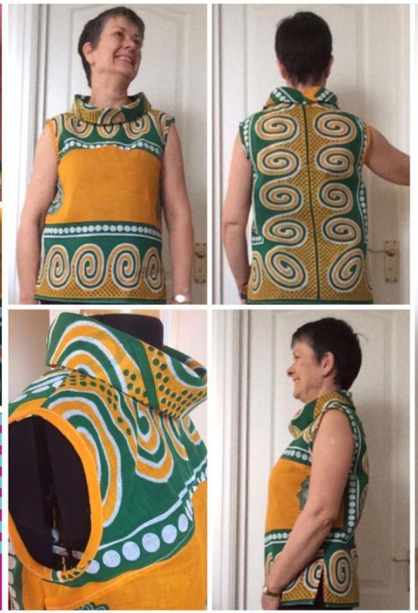 Yellow and teal dress with swirled border print