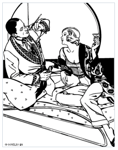 very art nouveau/deco black/white illustration of 20/30s couple with man smoking in smoking jacket, women drinking martini in smoking jacket