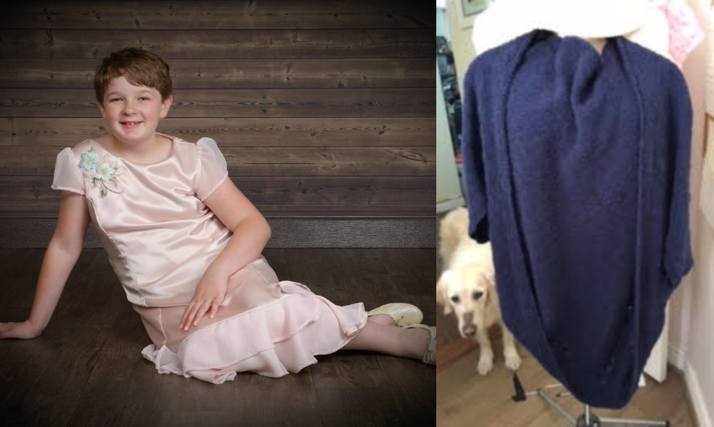 Two photos: 12 year old white girl wearing pale pink dress, sitting on the floor, AND blue, knitted shrug with light golden colored dog in background.