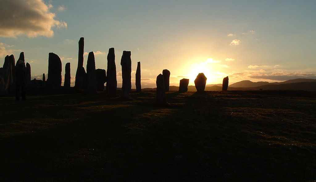 Standing stones at Calanais, one of the most important standing stone sights in the UK. This photo is taken at sunrise, with the stones in silhouette