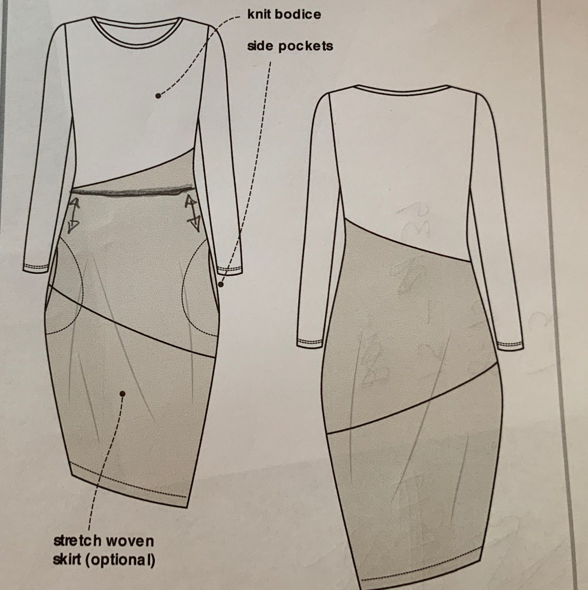 Schematic of dress with fitted top and lantern shaped skirt.