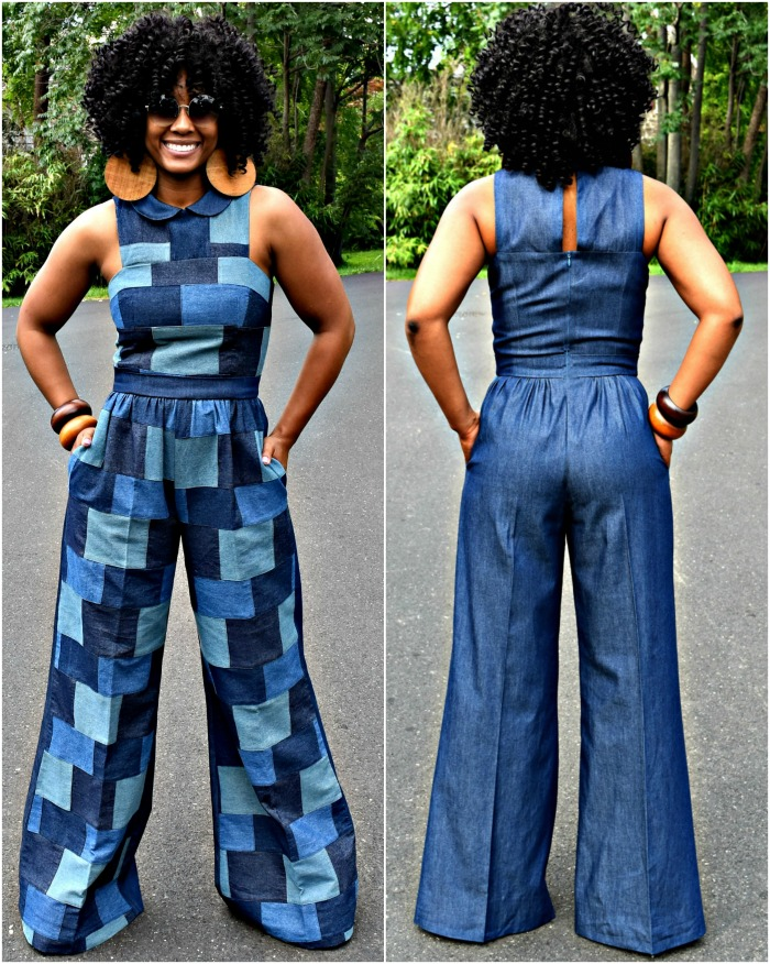 Mori in an incredible patchwork denim jumpsuit, large wood earrings and wood cuff bracelets