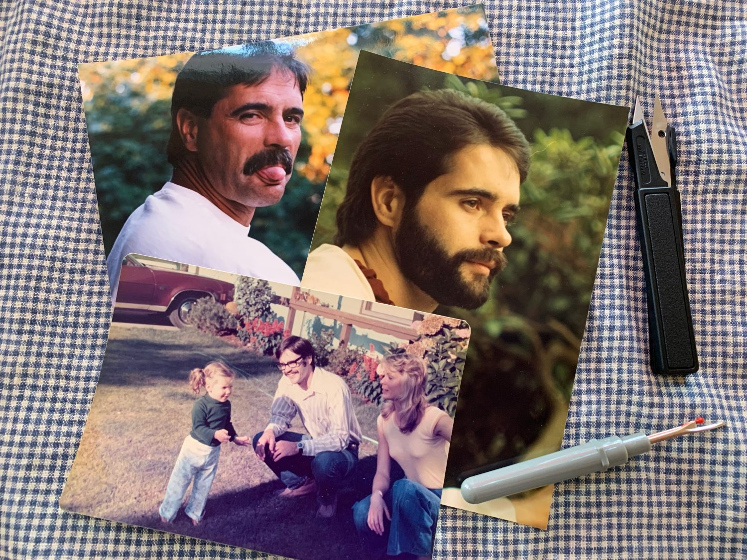 Photos of author's father: 1 of father a few weeks before death, 1 in the mid 1980s, 1 in 1975.